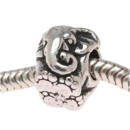 Silver Plated Pewter European Style Large Hole Elephant Bead 11mm - Elephant Beads