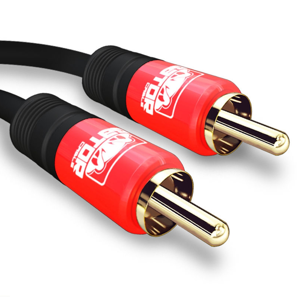 GATOR CABLE 1 RCA Cable - Male to Male (M to M) - RED - 6 FT - Gold Plated Connectors - Mono Composite Audio Video Subwoofer Digital Coaxial Cable