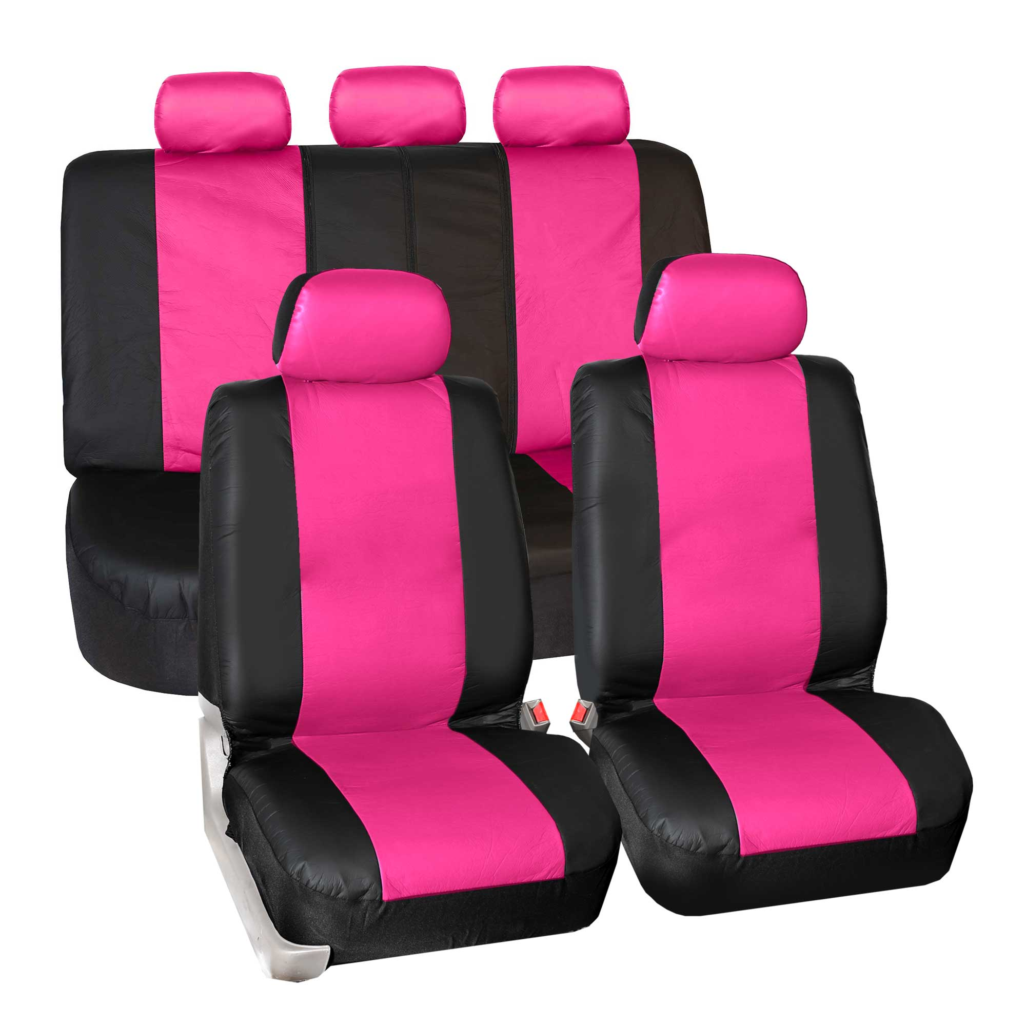 FH Group Synthetic Leather Seat Covers for 5 Headrests Auto, Airbag Compatible and Split Rear Bench, 6 Colors