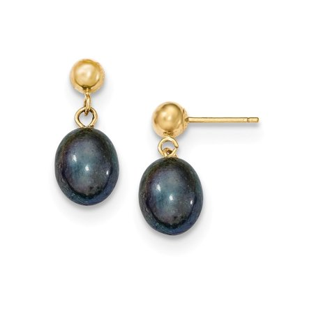 14k Yellow Gold 8mm Black Rice Freshwater Cultured Pearl Drop Dangle Chandelier Post Stud Earrings