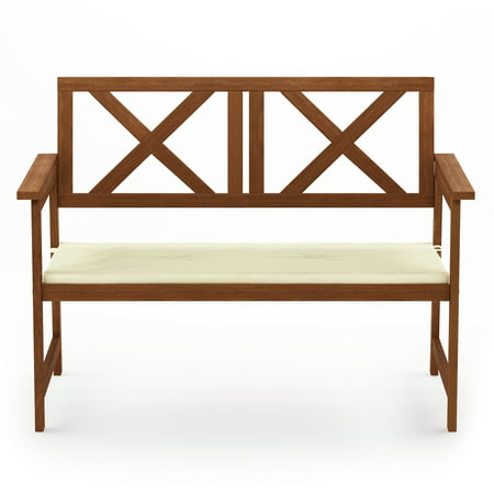 Furinno Tioman Hardwood X Back Bench in Teak Oil with Cushion