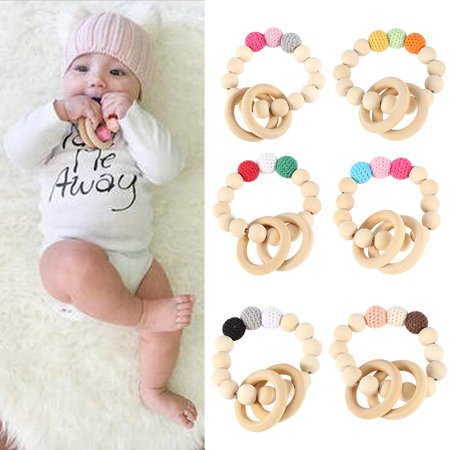 (Tbest Handmade Natural Wooden Baby Teether Bracelet Crochet Beads Teething Ring Infant Toy Gift, Wooden Baby Teether,Baby Teether)