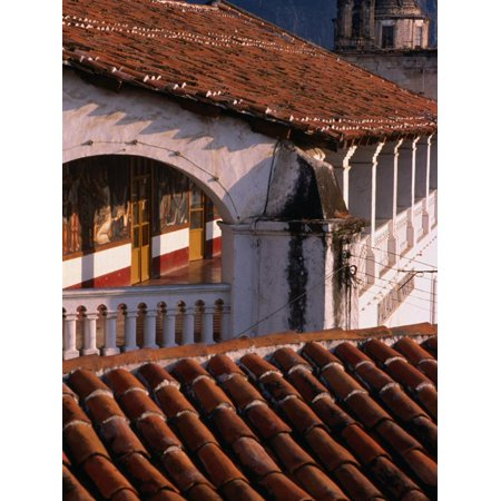 Ceramic Tiled Roofs and Colonial Arch, Taxco, Mexico Print Wall Art By Philip Smith