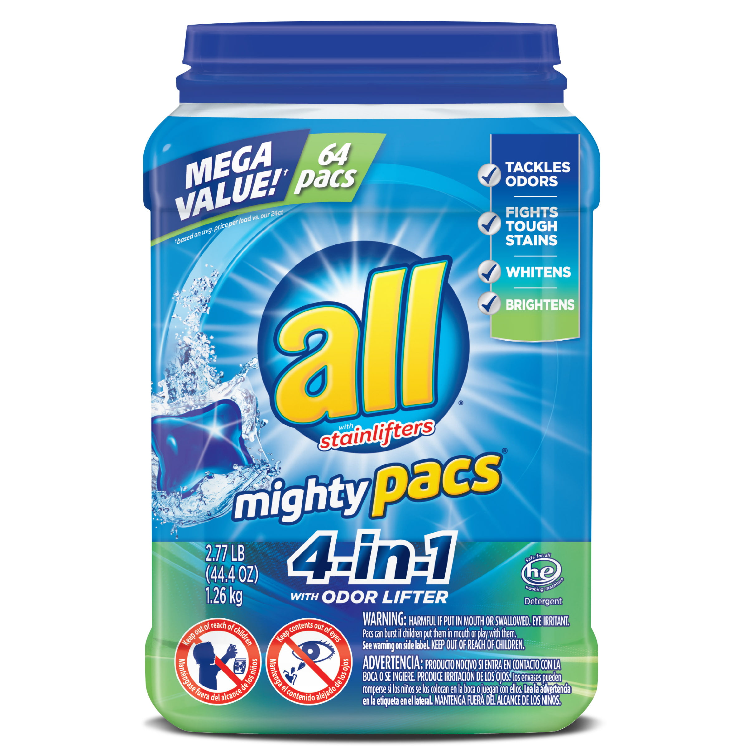 all Mighty Pacs Laundry Detergent, 4-in-1 with Odor Lifter, 64 Count