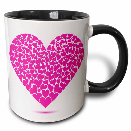 3dRose Large Pink Heart Made Of Smaller Hearts - Two Tone Black Mug, 11-ounce