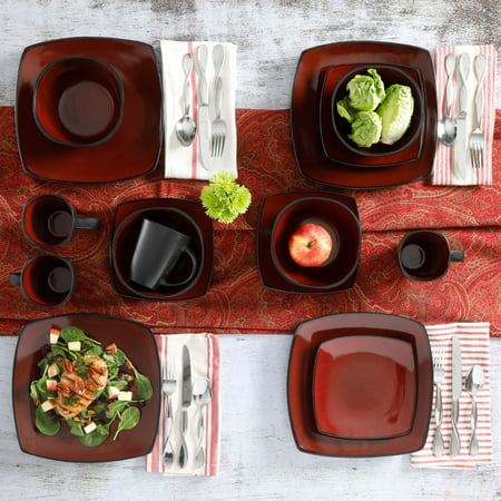 (Gibson Home Soho Lounge Square Stoneware 16-piece Dinnerware Set)