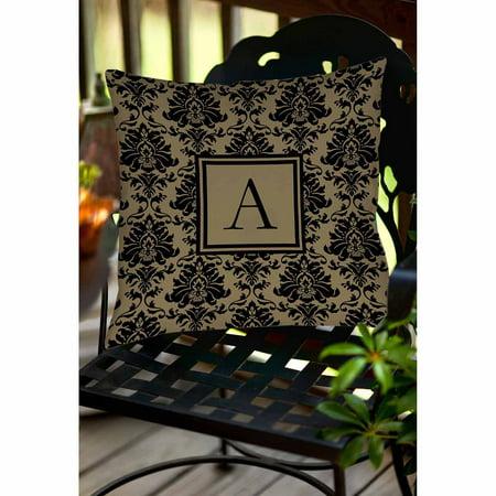 IDG Damask Monogram Decorative Pillow, Black and Gold ()