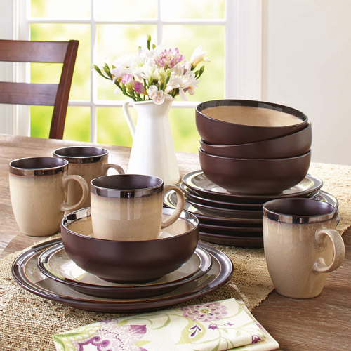 Better Homes and Gardens 16-Piece Sierra Dinnerware Set, Beige