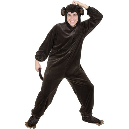 Adult Size Micro Fiber Jungle Safari Monkey Suit With Tail Costume - Monkey Suits For Sale