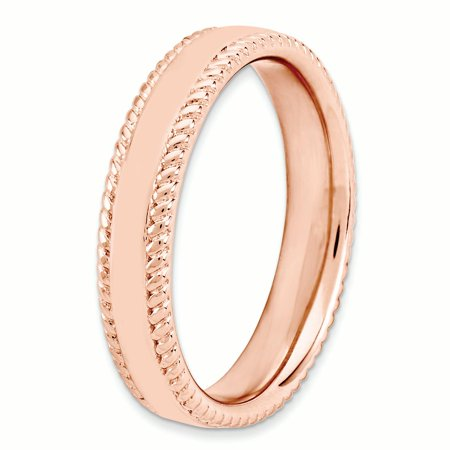 925 Sterling Silver Pink Plated Band Ring Size 10.00 Stackable Fancy/ Fine Jewelry For Women Gifts For Her - image 1 of 8