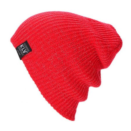 005a8b4934b HURRISE Unisex Knitted Outdoor Warm Ski Beanie Hat Soft Wool Silver Yarn  Stretch Chunky Cap LZ112