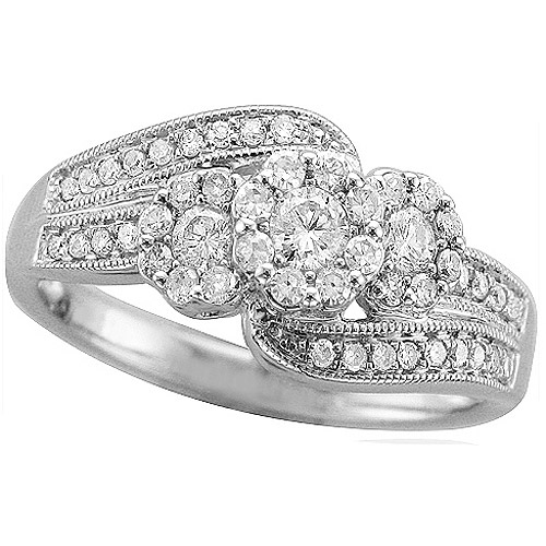 Forever Bride 1/2 Carat T.W. Diamond Engraved Sterling Silver Engagement Ring