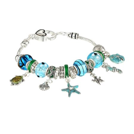 Bracelet Poem Gift Box (Silver Tone Nautical Sea Life Cute Girls Bead Charm 7.5