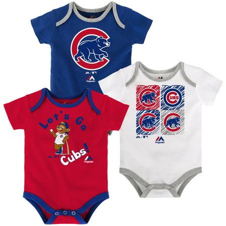 (Chicago Cubs Majestic Newborn & Infant Go Team 3-Pack Bodysuit Set - Royal/Red/White)