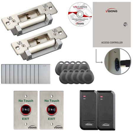 FPC-6164 2 Door Access Control Electric Strike Fail Safe and Fail Secure Adjustable Attendance TCP / IP RS485 Wiegand Controller Box, Power Supply, Waterproof Card Reader, Software, 10,000 Users Kit
