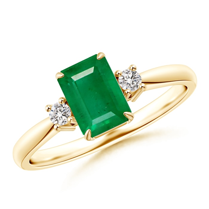 Angara May Birthstone Ring Classic Emerald Cut Emerald Round