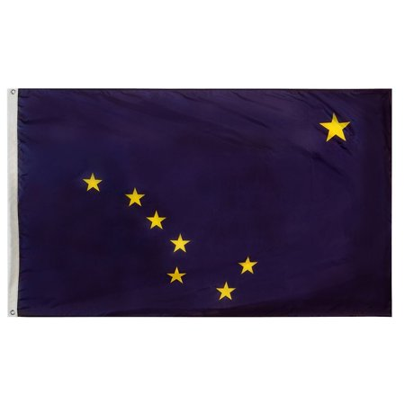 G128 – 3x5 feet, Alaska State Flag | Embroidered 210D – Indoor/Outdoor, Vibrant Colors, Brass Grommets, Quality -