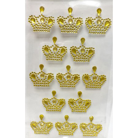 3 Sheets of Gold Crown Prince Princess Sticker Charms 3D Baby Shower or Birthday Scrapbooking Self Adhesive Stickers Party Motives Favor Decorations - Prince And Princess Party