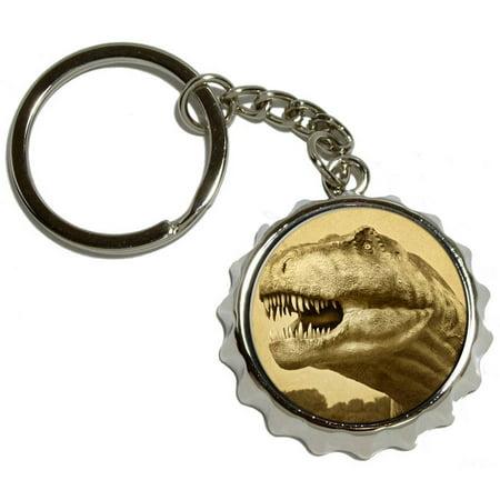 vintage dinosaur tyrannosaurus rex nickel plated metal popcap bottle opener keychain key ring. Black Bedroom Furniture Sets. Home Design Ideas