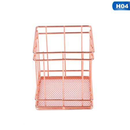 KABOER Rose gold storage basket Iron storage basket desktop finishing fruit storage basket square ()