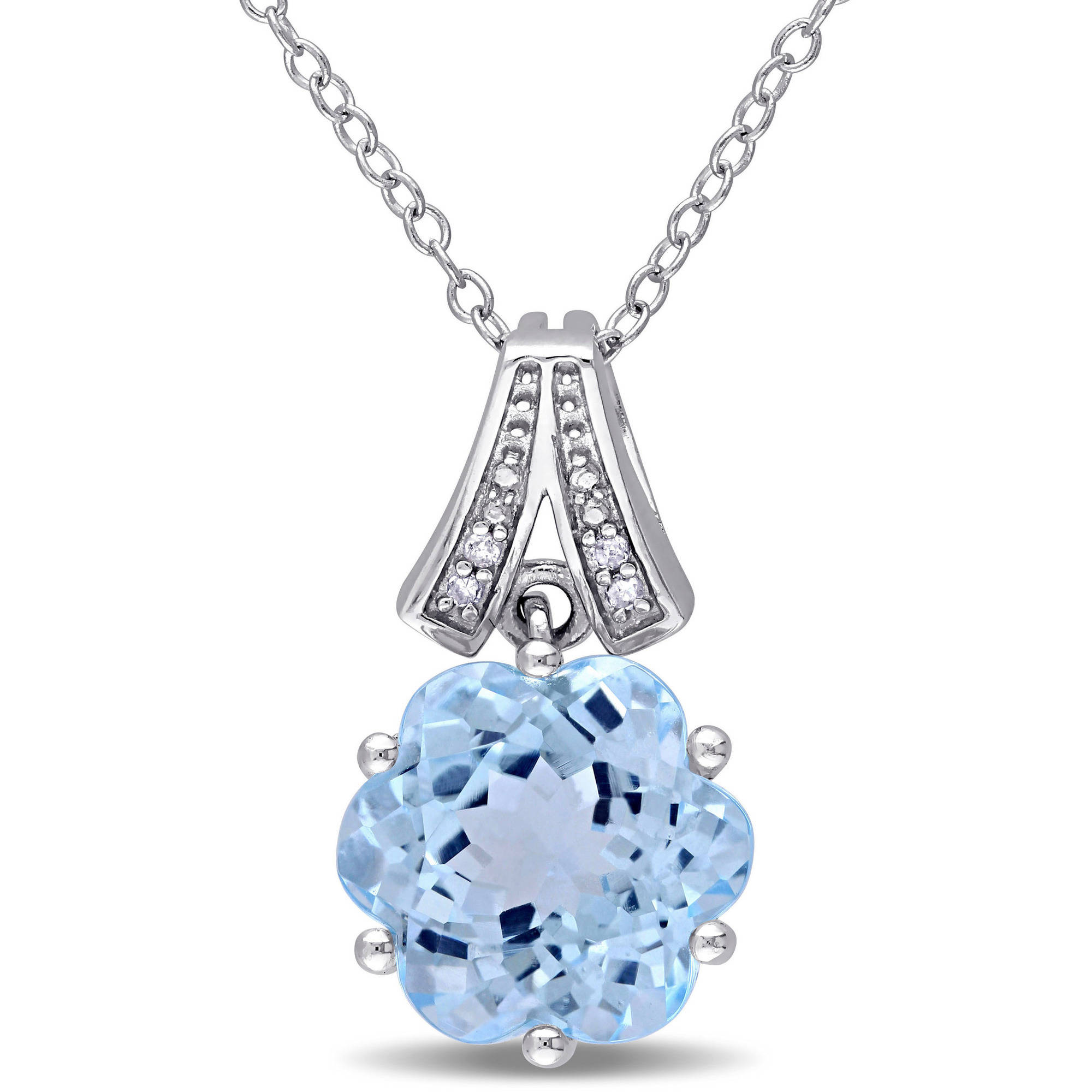 """Tangelo 7-1 2 Carat T.G.W. Sky Blue Topaz and Diamond-Accent Sterling Silver Fashion Pendant, 18"""" by Tangelo"""