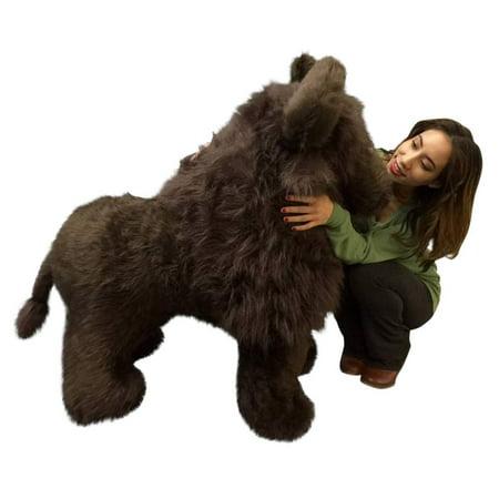 American Made Giant Stuffed Dark Brown Buffalo 44 Inch Soft Huge Big Plush Animal ()
