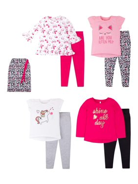 Little Star Oranic Pure Organic Baby Toddler Girl Mix & Match Outfits, 8pc Outfit Gift Set