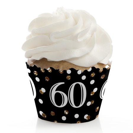 Adult 60th Birthday - Gold - Birthday Party Cupcake Wrappers - Set of 12