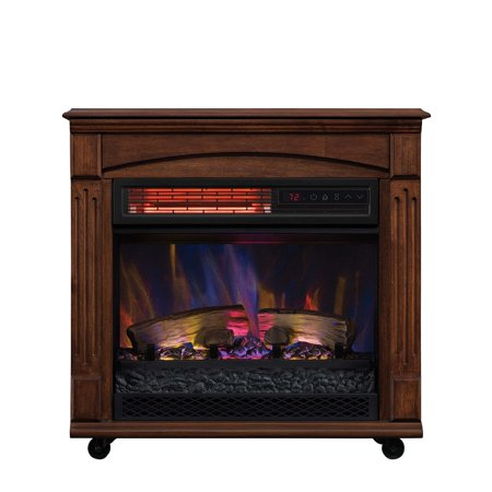 ChimneyFree Rolling Mantel, Infrared Quartz Electric Fireplace Space - Smokeless Fireplace
