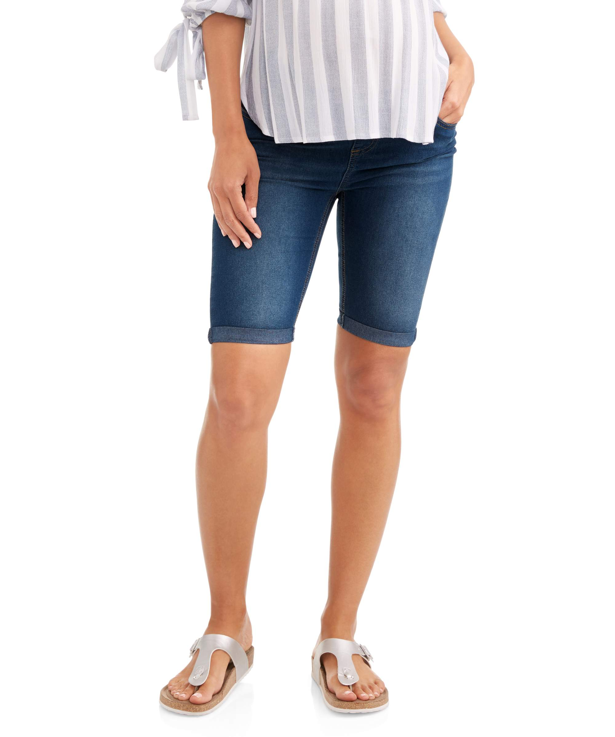 Maternity Under Belly Denim Bermuda with Embroidered Back Pockets--Available in Plus Size by Generic