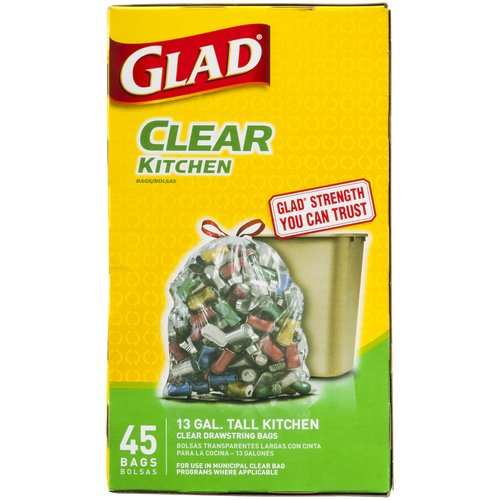 Glad Clear Recycling Tall Kitchen Drawstring Trash Bags, 13 gallon, 45 count