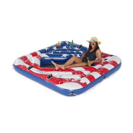 Intex 57264VM Inflatable American Flag 2 Person Party Island Lake Pool - 2 Floating Pool