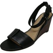 Splendid Women's Tadeo Leather Black Ankle-High Wedged Sandal - 9.5M