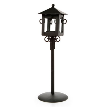 Candle Holder - Lantern with Stand - Metal - Black - 3.54 x 3.54 x 11.6 inches ()