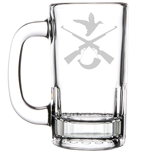 12oz Beer Mug Stein Glass Hunting Rifle Duck Hunter by