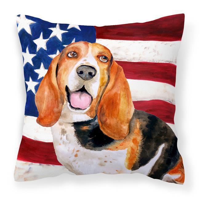 Carolines Treasures BB9704PW1414 Basset Hound Patriotic Fabric Decorative Pillow - image 1 de 1
