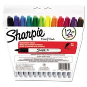 Sanford Ink Company 30072 Permanent Markers, Fine Point, Assorted, 12/Set