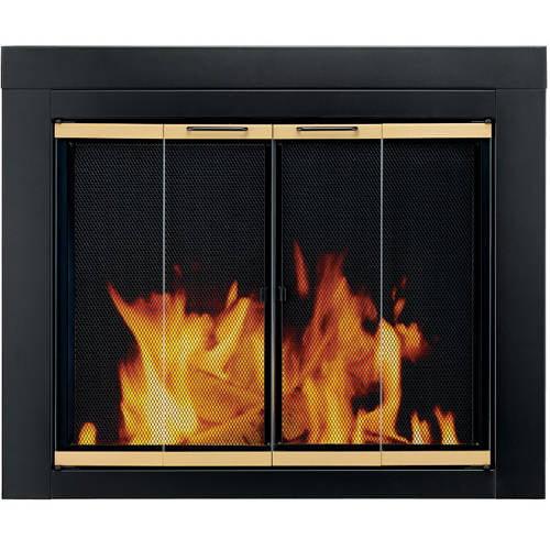 Pleasant Hearth Austin Bi-Fold Style Fireplace Glass Door, Black ...