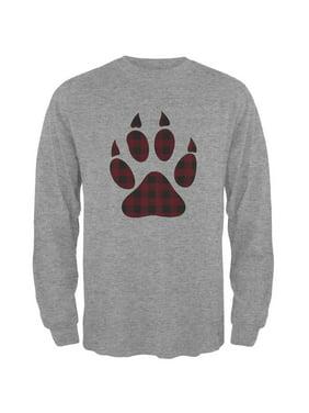 04039599e0f5a4 Product Image Autumn Buffalo Plaid Bear Claw Paw Mens Long Sleeve T Shirt