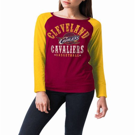 Nba Cleveland Cavaliers Womens Long Sleeve Raglan Scoop Neck Tee