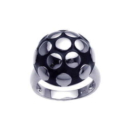 .925 Sterling Silver Rhodium Plated Black Enamel Mushroom Ring