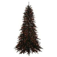 "Vickerman 433188 - 6.5' x 46"" Black Fir Tree with 600 Orange LED Lights Christmas Tree (K162066LED)"