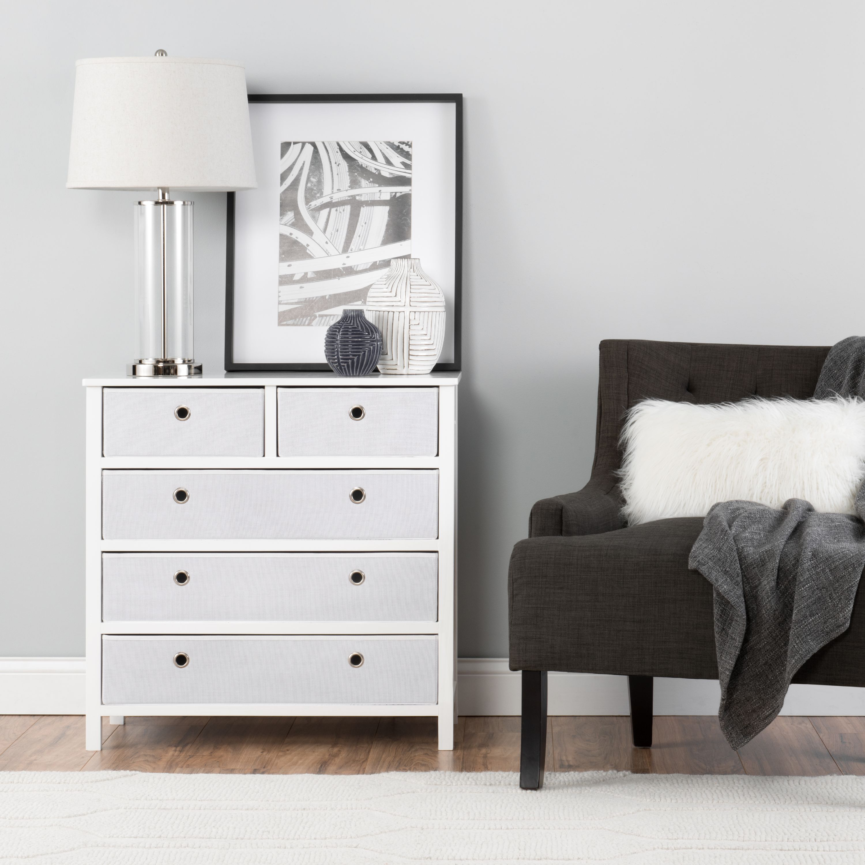 Foldable Furniture Split 5 Drawer Single Dresser - Achim EZ Home Solutions
