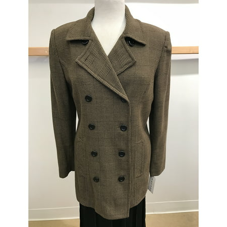 Brown Glenn Plaid Double Breasted Light Weight Wool Outerwear Jacket (Style# - Tan Glen Plaid Wool