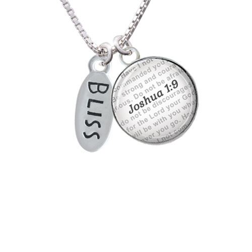 Bliss Oval - Bible Verse Joshua 1:9 Glass Dome Necklace