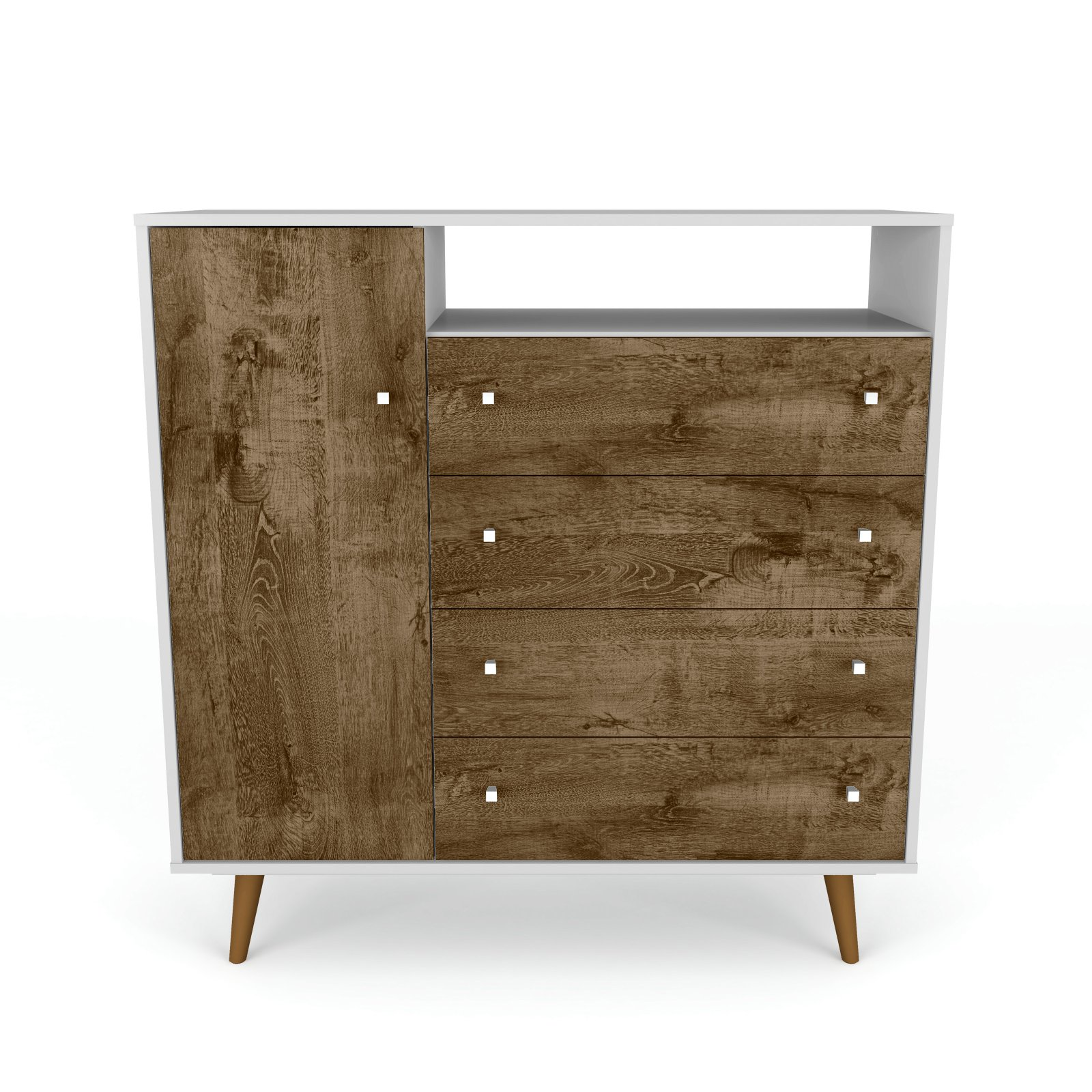 "Liberty 4-Drawer 42.32"" Sideboard In White And Rustic"