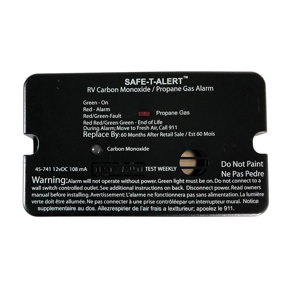 Black Safe-T-Alert Combo Carbon Monoxide Propane Alarms Flush Mount