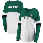 New York Jets New Era Women's Athletic Varsity Lace-Up Long Sleeve T-Shirt - Green/White