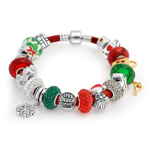 Bling Jewelry 925 Silver Christmas Live Love Laugh Enamel Crystal Glass Fits Pandora Charm Bracelet