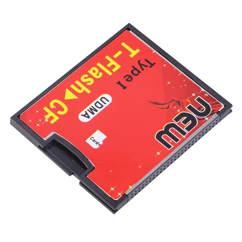 Hot Sale Upgraded Red & Black T-Flash to CF type1 Compact Flash Memory Card UDMA Adapter Up to 64GB